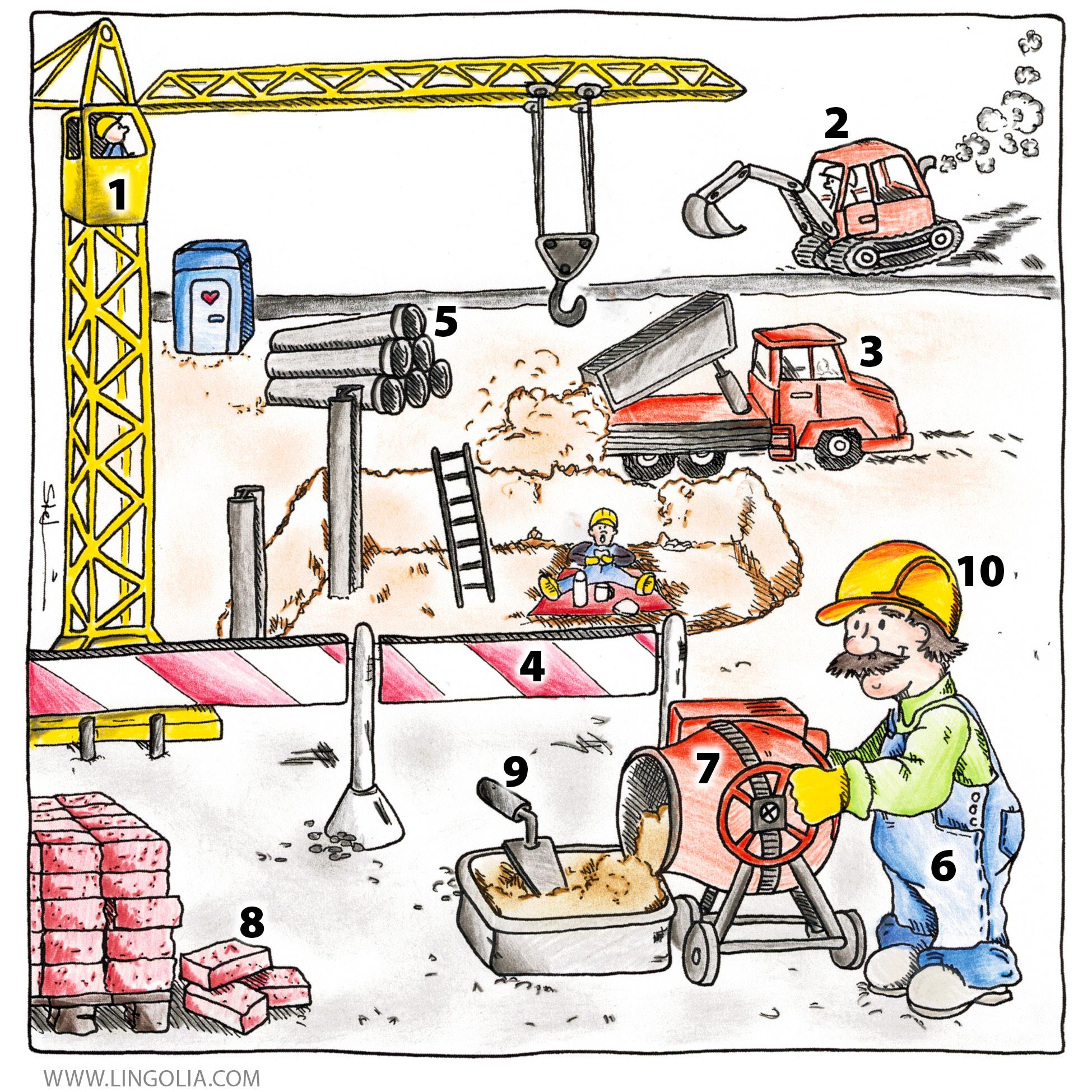 Building site lingolia english for Construction vocabulary