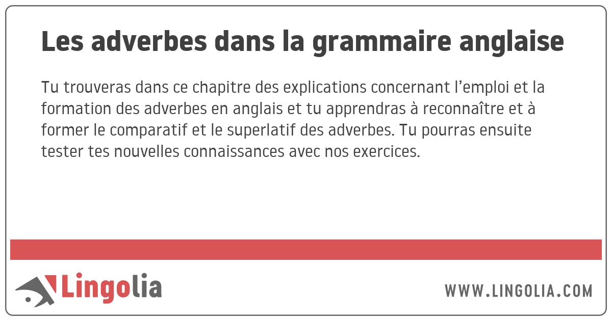 Les Adverbes Dans La Grammaire Anglaise