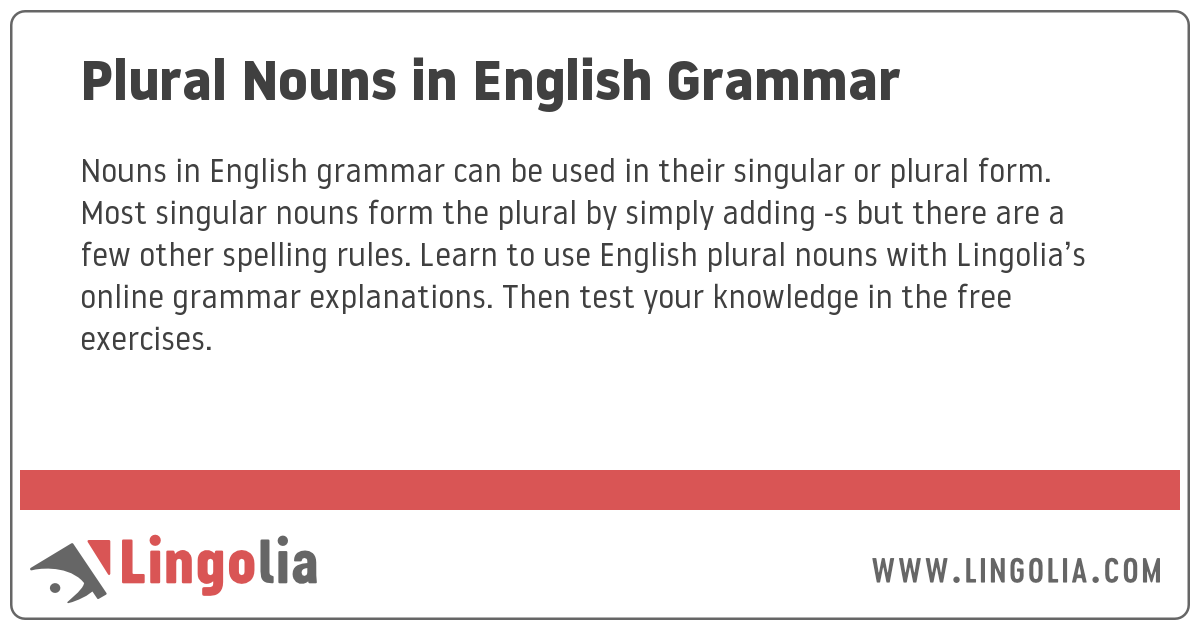Plural Nouns In English Grammar
