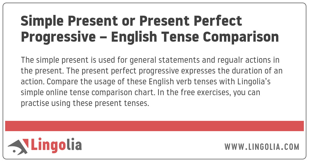 Simple Present Or Present Perfect Progressive English Tense Comparison