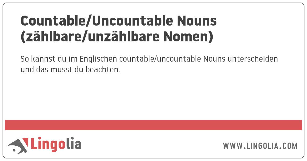 Countableuncountable Nouns Zählbare Und Unzählbare Nomen