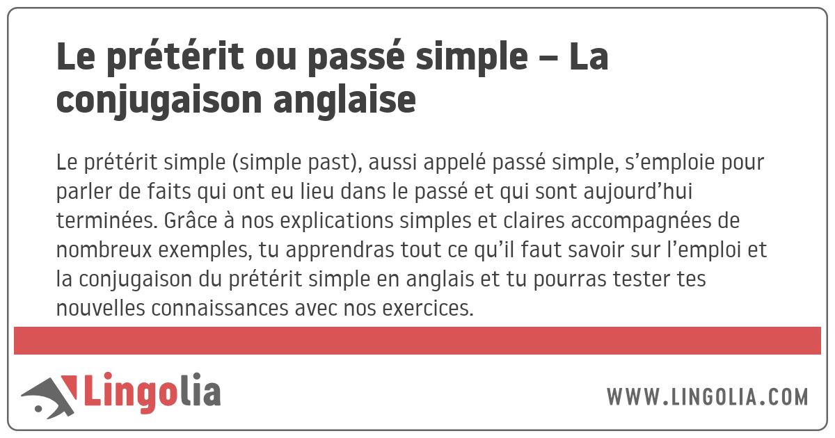 Le Preterit Ou Passe Simple La Conjugaison Anglaise