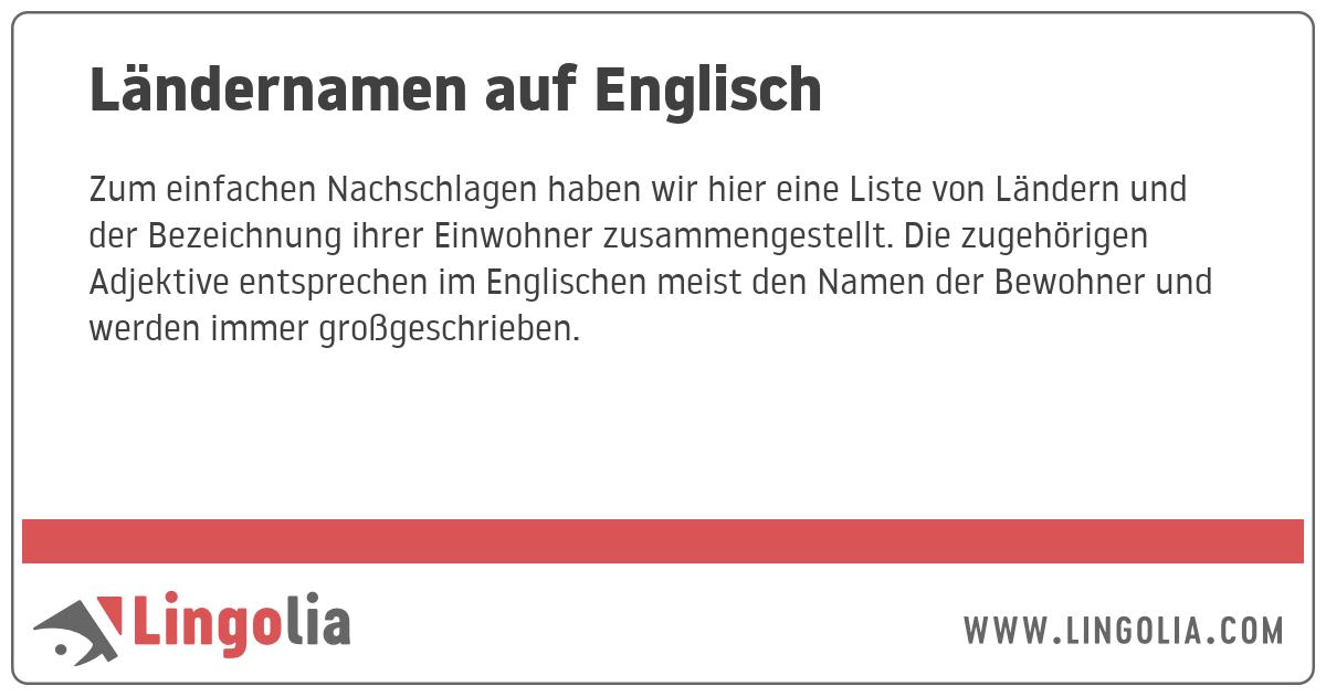 Einwohner Auf Englisch